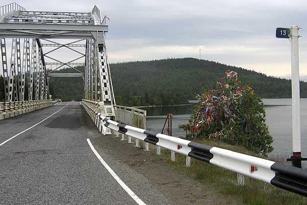 мост через пролив Экостровский. рядом свадебное дерево, на котрое традиционно вешают цветные ленточки