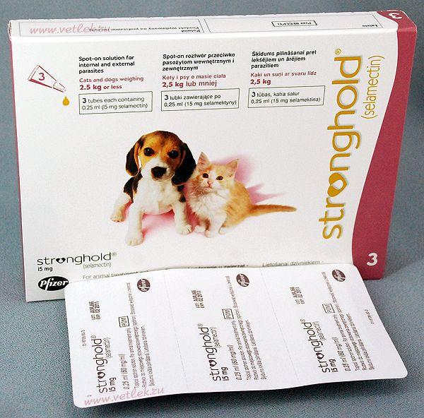 Стронгхолд 15 мг для собак и кошек массой до 2,5 кг, уп. 3 пипетки по 0,25 мл
